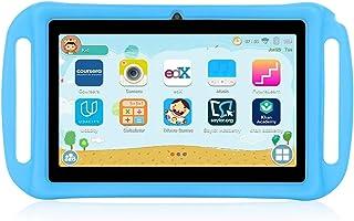 Xgody T702 7 英寸安卓儿童平板电脑适用于儿童互联网课四核安卓8.1 1GB RAM 16GB ROM 触摸屏带 WiFi 预加载 3D 游戏双摄像头,儿童防护 幼儿平板 蓝色