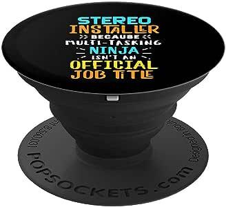 汽车音频立体声安装工作标题,音乐技艺 PopSockets 手机和平板电脑的手柄和支架260027  黑色