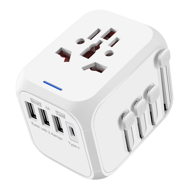 ≤ヨーロッパの米国のための壁の充電器ACプラグアダプタの適切な、英国AUS携帯電話、タブレット、ノートパソコン、白トラベルアダプタ - ホワイト新充電ユニバーサル電源アダプタ、世界の速いの国際的な旅行アダプターUSB 5.0Aタイプ-C 1