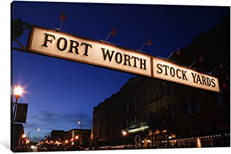 iCanvasART PIM8860-1PC3 Signboard over a Road at Dusk Fort Worth Stockyards Fort Worth Texas USA Canvas Print by Panoramic Images, 0.75 by 12 by 8-Inch