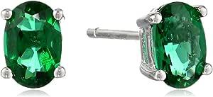 纯银 6x4 椭圆形玉石宝石耳钉