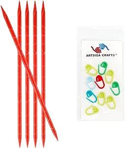 knitter's Pride marblz 双尖织针5件装55.88cm ( 20cm ) with 10artsiga CRAFTS stitch 马克笔
