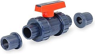 Midline Valve 482UT200 重型 PVC 真正联合球阀粉色手柄 5.08 厘米FIP/溶剂连接灰色塑料,灰色