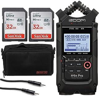 Zoom H4n Pro 4 输入 / 4 轨便携式手持录音机,带车载 X/Y 麦克风胶囊(黑色)+ 2 个 32GB 存储卡 + 配件包 - 8 英寸 + 立体声迷你公头电缆