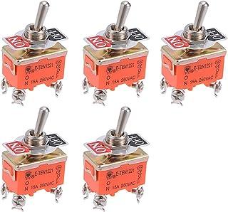 uxcell DPDT 系带摇杆拨动开关重型 15A 250V 4P 开/关金属球棒 5 件