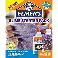 Elmer's Glue Slime Starter Kit, Clear School Glue & Purple Glitter Glue, 4 Count