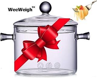 WeeWeigh 带盖玻璃炖锅 – 迷你玻璃厨具炉灶带盖,透明锅,方便烹饪即时烹饪,调味料,汤,面食,面条意大利面锅,婴儿食品,糖果罐,冰淇淋 透明 1.5L - 50oz