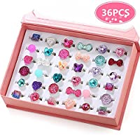 PinkSheep 小女孩宝石戒指(包装盒内),可调节,无重复,女孩假装游戏和装扮戒指 36 宝石戒指
