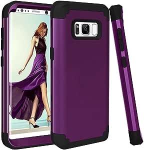 Galaxy S8 手机壳,时尚 3 合 1 硬质 PC + 软 TPU 防冲击重型防震全机壳适用于三星 Galaxy S8 紫色