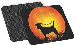 "Rikki Knight""Clumber Spaniel Dog Silhouette By Moon Design""柔软方形啤*杯垫(2 件套),多色"
