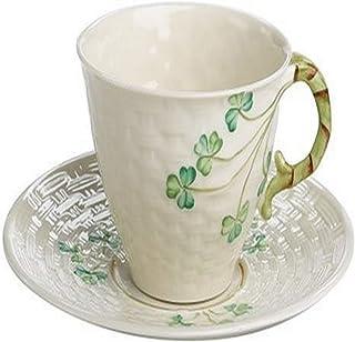 Belleek 三叶草杯和碟子