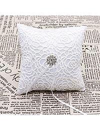 HUELE 花卉水钻新娘婚礼仪式蕾丝戒指熊枕