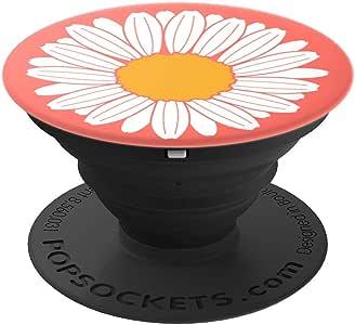 可爱雏菊珊瑚白色花朵 PopSockets 手机和平板电脑握架260027  黑色