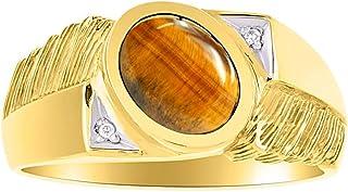 RYLOS 简约优雅彩色宝石 - 生辰石/宝石和钻石戒指套装黄金镀银。