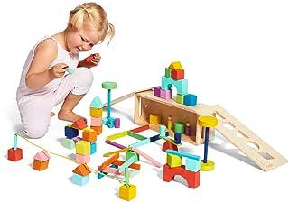 Lovevery 积木套装 - 实木积木和形状 + 木质收纳盒,70 块,18 种颜色,20 种以上活动