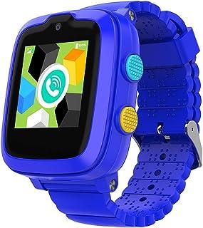 2020 型号 - 4G 儿童智能手表带 GPS 追踪器 | 触摸屏| 远程监控| SOS | 视频通话| 送给男孩/女孩的*区礼物(蓝色)