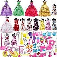 Yourss Doll 服装套装适合芭比娃娃,15 件衣服,派对生长服装和 98 件不同娃娃配饰鞋袋项链餐具适合小女孩生日