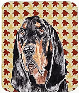 Caroline's Treasures Coonhound Fall Leaves Glass Cutting Board, Large, Multicolor