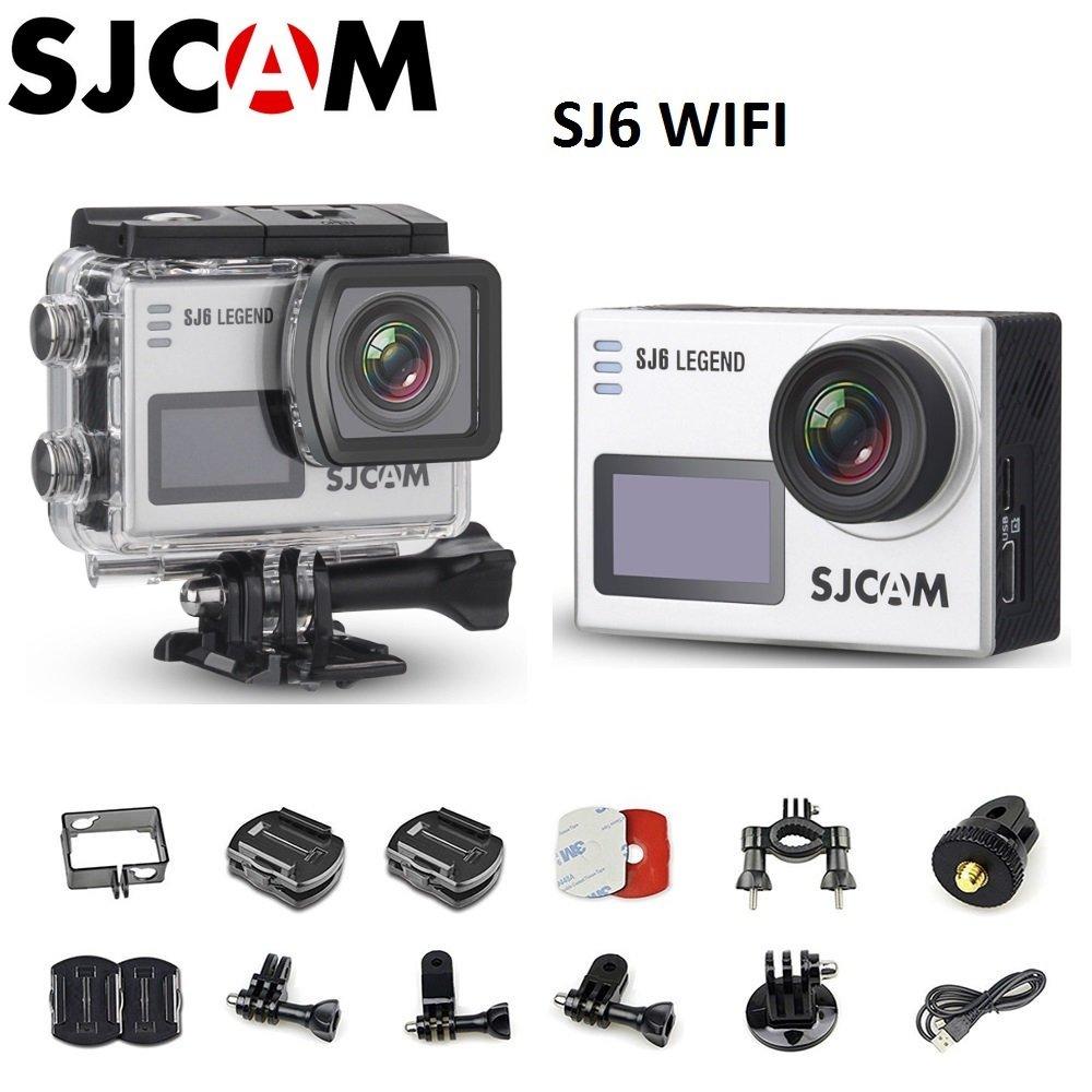 SJCAMのSJ6伝説のデュアル2フィートLCDタッチスクリーン2880×2160 NOVATEK NT96660パナソニックMN34120PA CMOS 4KウルトラHDスポーツDVアクションカメラ銀+ 1つのバッテリー