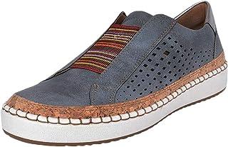 WZIKAI 女式一脚蹬镂空时尚运动鞋休闲圆头平底鞋