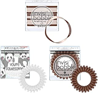 Invisibobble 原创基础和强力螺旋发带和无重发圈女孩配饰 - (棕色和白色)