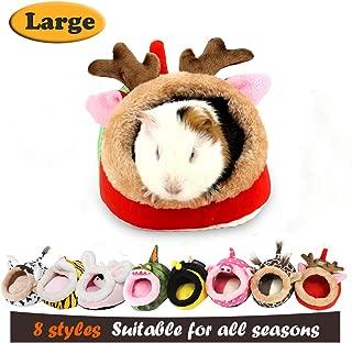 myidea 刺猬豚鼠 Nest–chinchillas CAGE rabbits & 小号宠物动物床 / CUBE / HOUSE 生活环境轻便耐用便携式靠垫大脚垫适用于 NEW YEAR'S 礼品 Red elk Small Pet - L