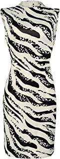 YEMOCILE 女式时尚斑马印花无袖修身旗袍膝盖以上夏季连衣裙