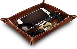 OTTO - 真皮托盘收纳盒实用收纳盒,适用于钥匙、硬币、手机和办公设备 棕色