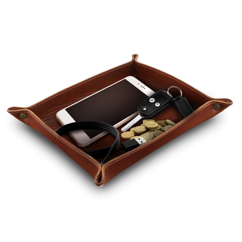 OTTO  - 革のトレイ収納ボックスの鍵、コイン、携帯電話やオフィス機器・ブラウンのための実用的な収納ボックス