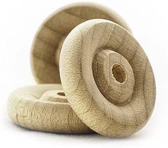 1.91 cm 木质玩具车轮,厚 0.48 cm,带 0.32 cm 的孔洞。 未抛光木 Bag of 50 TW075050