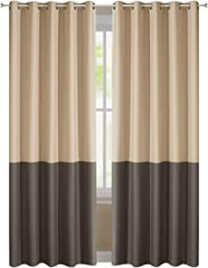 DREAMING CASA 拼色两个音调室内遮光窗帘窗帘顶部孔环 drapes 2片装