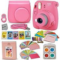 Fujifilm Instax 迷你 9 即时摄像头 + 配件套件包括:定制迷你 9 手机壳带肩带+各种框架+相册 + 4 色滤镜+大号自拍镜+更多 c) Flamingo Pink