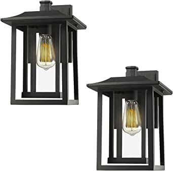 Beionxii 户外壁灯 | 柱灯 | 吊灯,黑色表面,透明玻璃板 - A197 系列 Wall Light 2 Pack