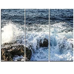 """设计艺术 MT10725-20-12 石头上的波浪突破风海滩当代海景金属墙壁艺术 绿色 36x28"""" - 3 Panels MT10725-3P"""