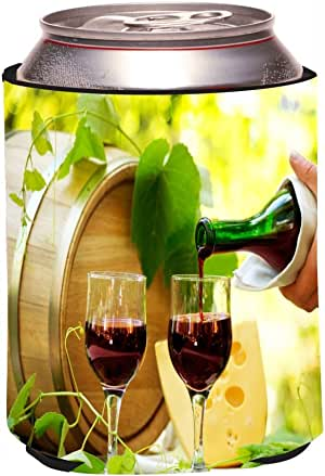 """Rikki Knight""""Red Wine and Cheese Design"""" Beer Can Soda Drinks Cooler Koozie"""