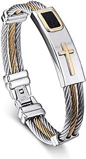JewelBeauty 男式不锈钢皮革电缆十字架雕刻扭曲手镯手链 20.32 厘米