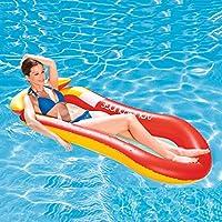IRSHE 水漂浮吊床,水充气躺椅浮标,带头枕/靠背和脚凳,浮动椅子,水漂浮床沙发,游泳池沙滩垫成人和儿童泳池玩具 - 红色