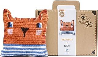 Sozo DIY 针头枕套件适合初学者。 儿童十字绣花套件。 完整套件包括您创造针头枕所需的一切东西(小条纹衬衫)