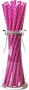 "Simply Baked Paper Straw, Pack of 25, Fuchsia Quadrafoil, 8"" long, Disposable but Won't Disintegrate In Drink"