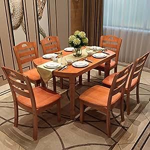 择木宜居 实木折叠圆形长方形餐桌饭桌台 桌椅子套装