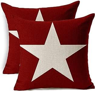 抱枕枕套装饰方形棉麻枕套,2 件套柔软抱枕套,适用于沙发卧室汽车 45.72 x 45.72 cm Pentagram,2pcs