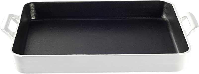 La Cuisine LC 8100 1 件浅铸铁烤盘,珐琅表面 白色 Shallow LC 8180