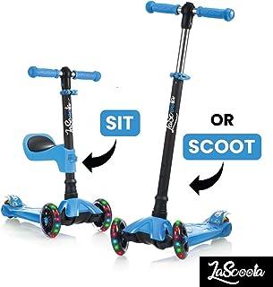 LaScoota 2 合 1 踢踏板车,带可拆卸座椅,非常适合儿童和学步儿童或男孩 - 可调节高度带超宽甲板PU 闪光车,适合2至14岁儿童使用