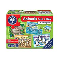 Orchard Toys 积木拼图 一个盒子里四个-动物(亚马逊进口直采,英国品牌)