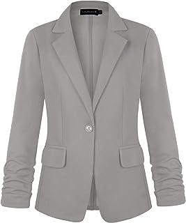 MINTLIMIT 女式七分褶袖一粒扣弹性工装外套,带口袋