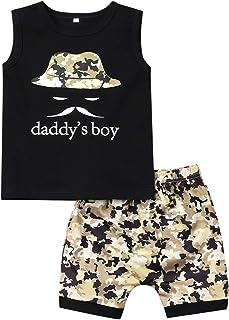 幼童男孩衣服搞笑字母印花無袖背心上衣 + 迷彩短褲夏季嬰兒服裝