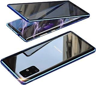 HONTECH Galaxy A71 5G 防间谍磁性手机壳,超薄隐私磁吸附前后钢化玻璃内置屏幕保护膜金属保险杠翻盖保护套 6.7 英寸 蓝色