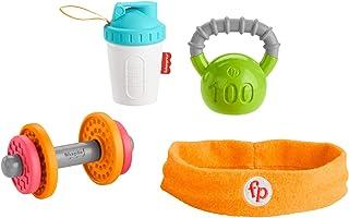 Fisher-Price 婴儿二头肌礼品套装,4 个以健身为主题的婴儿玩具,配有可穿戴的戏服围嘴、摇铃和牙胶,适合 3 个月及以上的宝宝