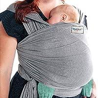 Hatch! 优质柔软透气天然棉婴儿吊带背带 - 柔软舒适 - 轻质背带适合婴儿/新生儿 - 哺乳罩 - 条纹 灰色