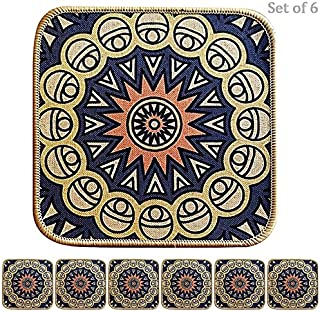 Home Accent 彩色方形餐垫,适用于厨房餐桌,桌旗隔热防滑植物盆垫,6 件套吸水防滑垫,适用于桌面地板,8.5 x 8.5 英寸(约 21.6 x 21.6 厘米) Elbert